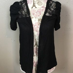 Black short sleeve sweater with lace back detail